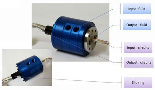 Rotary union for fluids and electrical circuits